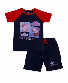 Peppa Pig Half Sleeves T-Shirt And Shorts Set - Red And Navy Blue