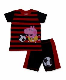 Peppa Pig Half Sleeves T-Shirt And Shorts Set Soccer Print - Red And Black