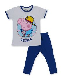 Peppa Pig Half Sleeves Tee And Track Pant George Print - White Royal Blue