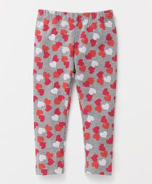 The Kidshop Heart Print Leggings - Grey