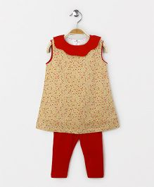 The Kidshop Floral Print Shift Dress & Leggings - Yellow