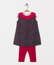The Kidshop Floral Print Shift Dress & Leggings - Navy & Pink