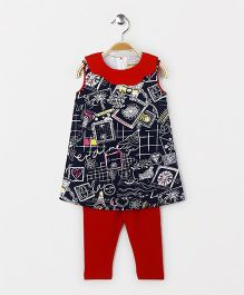 The Kidshop Abstract Print Shift Dress & Leggings Set - Navy