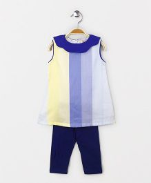 The Kidshop Striped Shift Dress & Leggings Set - Blue