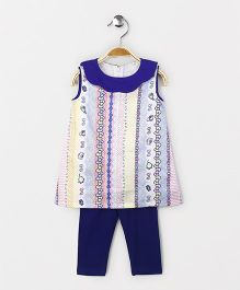 The Kidshop Colorful Ribbons Shift Dress & Leggings Set - Blue