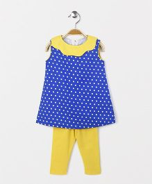 The Kidshop Polka Dot Shift Dress & Leggings Set - Blue & Yellow