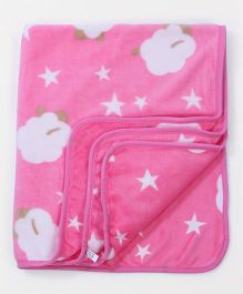 Baby Blanket Cloud And Star Print - Pink