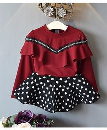 Preorder Urb-N-Angels Full Sleeves Dress Heart Print - Maroon