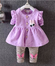 Preorder Urb-N-Angels Full Sleeves Frock With Leggings Bunny Motif - Purple