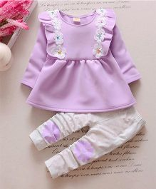 Preorder Urb-N-Angels Full Sleeves Frock With Leggings Floral Applique - Purple