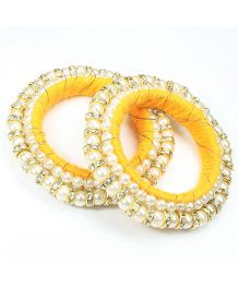Asthetika Diamond Stone Bangle Set Of 2 - Yellow