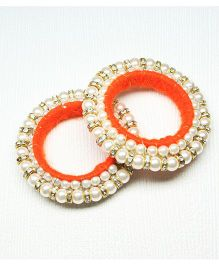 Asthetika Diamond Stone Bangle Set Of 2 - Orange