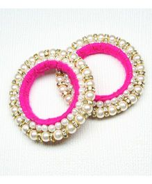 Asthetika Diamond Stone Bangle Set Of 2 - Pink