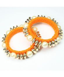 Asthetika Beaded Pearl Bangles Set Of 2 - Orange