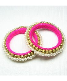 Asthetika Ethnic Moti Banlge Set Of 2 - Pink