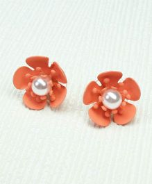 Asthetika Flower With Moti Stud Earrings - Orange