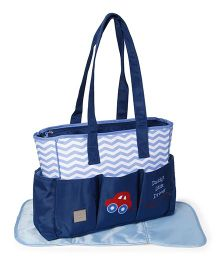 Mee Mee Diaper Bag with Changing Mat Car & Chevron Print - Blue