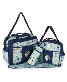 Mee Mee Diaper Bag Set With Changing Mat & Bottle Cover - Navy Blue