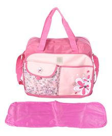 Mee Mee Diaper Bag With Changing Mat Zebra Print - Light Pink