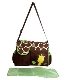 Mee Mee Diaper Bag With Changing Mat Giraffe Print - Dark Brown