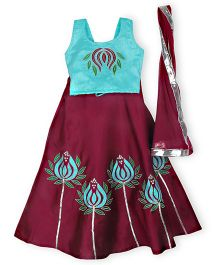 BownBee Lotus Charm Lahenga Choli - Blue & Wine