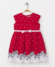 American Studio Printed Cap Sleeves Dress - Red