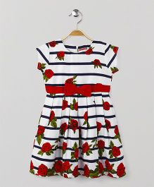 American Studio Floral Short Sleeves Dress - White & Red
