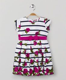 American Studio Floral Short Sleeves Dress - White & Pink