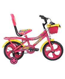 BSA Supercat Bicycle With Training Wheels Pink Yellow - 12 inches