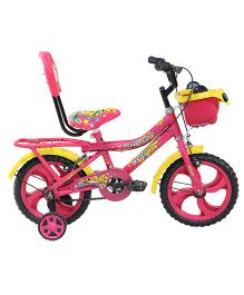 BSA Supercat Bicycle With Training Wheels Pink Yellow - 14 inches