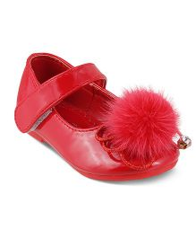 Kittens Party Wear Belly Shoes Velcro Closure - Red