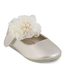 Kittens Party Wear Belly Shoes Corsage Detailing - Golden