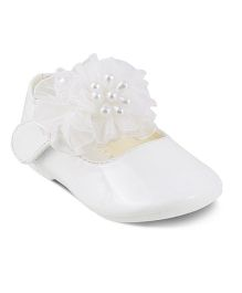 Kittens Party Wear Belly Shoes Corsage Detailing - White