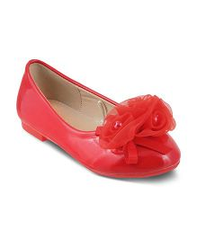 Kittens Party Wear Belly Shoes Floral Detailing - Red