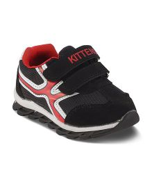 Kittens Casual Shoes Dual Velcro Closure - Black Red