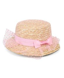 Babyhug Hat With Adjustable String Bow Applique - Beige & Pink