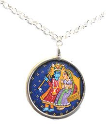 Pretty Ponytails Radha Krishna Pendant With Chain - Silver & Multicolor