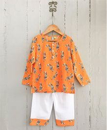 Frangipani Kids Zebra Print Full Sleeves Night Suit Set - Orange