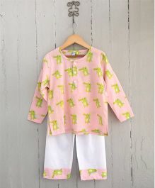 Frangipani Kids Crocodile Capers Printed Full Sleeves Night Suit Set - Peach