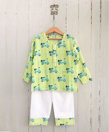 Frangipani Kids Vespa Journey Print Night Suit Set - Green