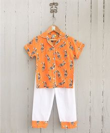 Frangipani Kids Zebra Print Collared Short Sleeves Night Suit - Orange