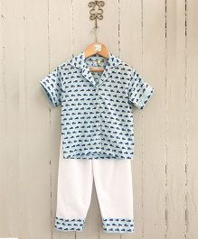 Frangipani Kids Shark Tale Collared Night Suit - Blue