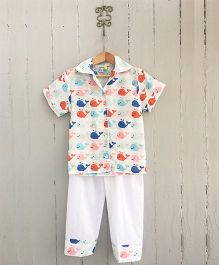 Frangipani Kids Pod Of Whales Collared Night Suit - Multicolor