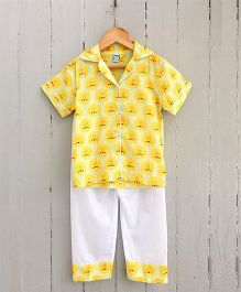 Frangipani Kids Pride Of Lions Collared Night Suit Set - Yellow