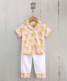 Frangipani Kids Crocodile Capers Night Suit Set - Peach