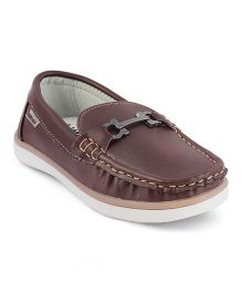 Kittens Shoes Slip On Loafers Stitch Detailing - Brown