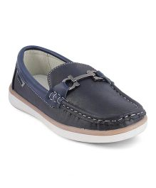 Kittens Shoes Slip On Loafers Stitch Detailing - Navy