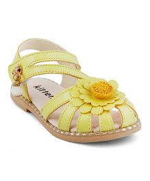 Kittens Sandals With Floral Motif - Yellow