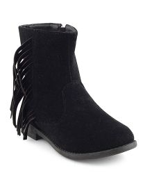 Kittens Shoes High Ankle Fringe Detailing Boots - Black