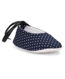 American Studio Polka Dot Booties With Satin Lace - Navy